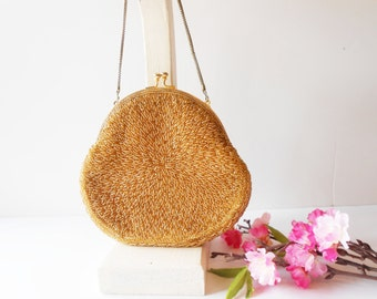Gold Beaded Evening Bag, Sparkly Gold Bag, VintagePurse, Gold Bead Handbag, Glamorous Gold Purse, Gold Evening Bag EB-0318