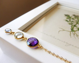 Purple and Green Amethyst, Mystic Quartz and Gold Filled Necklace, Layla