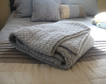 MADE TO ORDER , Soft gray afghan , gray throw blanket, gray crochet blanket, gray knit thro