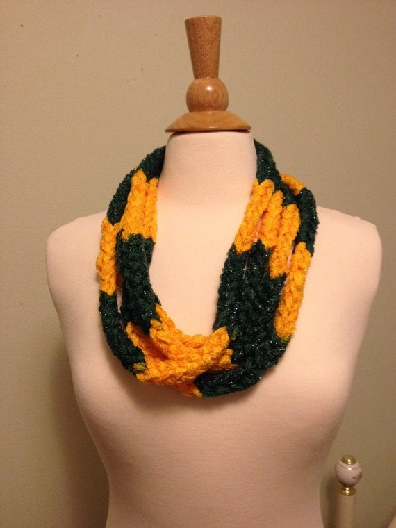 green and gold infinity scarf necklace team spirit wear