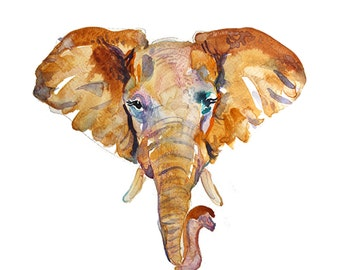 Elephant Head  -  Watercolor Animal  - size 11 x 14 in  - Watercolor  Painting - Animal Art Print