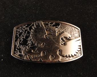 Vintage metal belt buckle with eagle