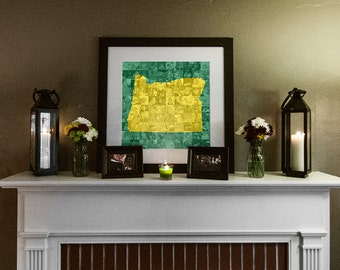 State of Oregon Photo Mosaic Collage - 20x20 Inch Print