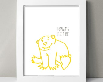 Bear Nursery Decor - Baby Boy Nursery Wall Art Print - Jungle Animal Nursery Decor - Yellow & Gray - Dream Big Little One - Kids Room