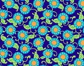 Amy Butler Fabric Lark Button Flowers Navy 1 yard