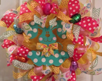 Easter Wreath/ READY TO SHIP/ Easter Bunny Wreath/ Deco Mesh Easter  Wreath/ Easter Door Decor