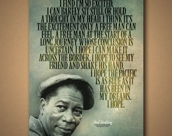 """The SHAWSHANK REDEMPTION Red """"I Hope"""" Quote Poster"""