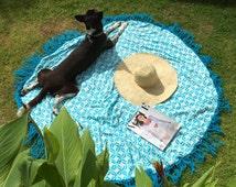 Round Beach Towel with Crochet Tassel Trim, Round Towel, Bed Throw, Large Bath Sheet