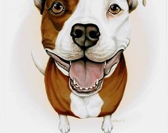 Pit Bull - Pit Bull Art - Pit Bull Terrier - Pitbull - Dog Portrait - Pitbulls - Pet Portrait - Pit Bulls - Pit Bull Painting - Dog Breeds