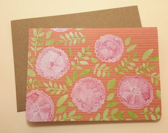 Striped Blooms /  blank note card set
