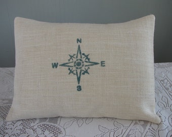 Compass Rose PILLOW COVER Ivory Burlap Nautical Beach Style Cottage Style [12x16]