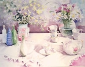 Daisies and the little white tea pot.this painting was inspired by the daisies blooming in my spring garden.