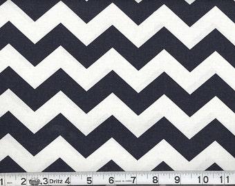 1 inch Chevron --- Navy Chevron --- Medium Chevron --- Fabric By The Yard