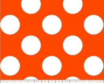 Super Dot --- Orange Polka Dot Fabric ----100 Percent Cotton --- Fabric By The Yard
