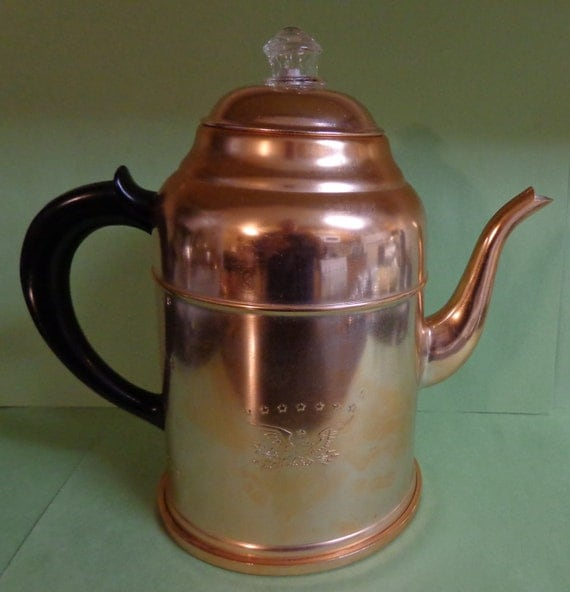 Vintage Aluminum Houseware Co Copper Color Percolator Coffee
