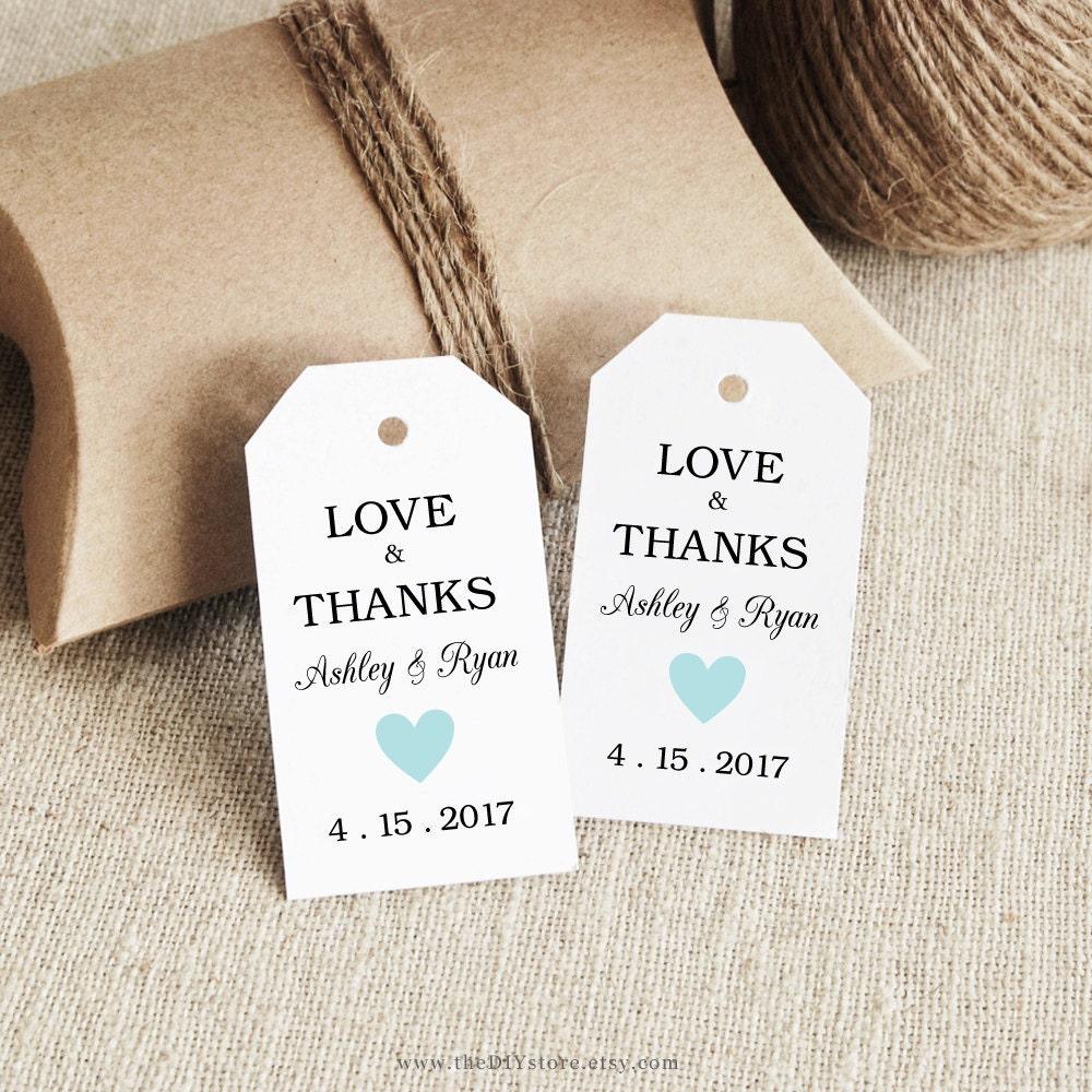 Wedding Thank You Gift Tags Template : Gift Tag Printable Text Editable Col30 Blue SMALL Tag