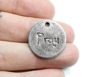 Antique Silver Pray Circle Charms 6 QTY