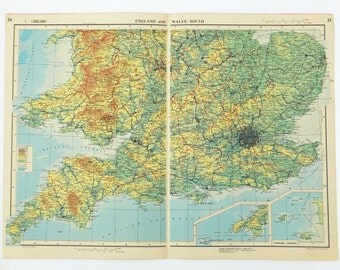 England and Wales Map, Large Vintage Map of England and Wales, Southern England, English map, Welsh map