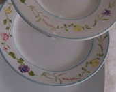 Springtime 3 Tiered Tea Stand/Cake Stand/Appetizer Tray, 2 plates Matching with Lg. Solid white square Plate, multicolord flowers(H202)