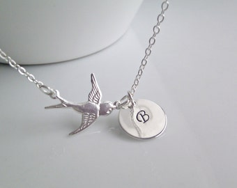 Bird Initial Necklace, Silver Bird Necklace, Silver Necklace, Gifts for Girls, Bridesmaid Gifts, British Seller UK, Woodland Wedding, Nature