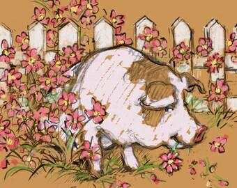 "Pig Eating Petunias Framed Print 16""x16"" Pig Eating Flowers in the Garden"