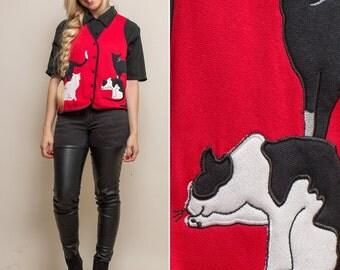 Vintage vest 90s CAT sleeveless red cat lady KITTY novelty cat print small medium large 1990s vest