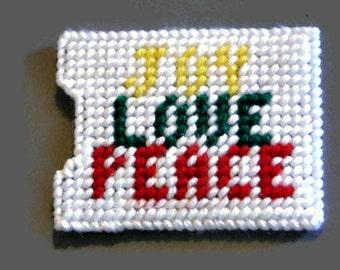 Plastic Canvas Gift Card Holder Joy Love Peace, needlecraft, Christmas gift, stocking stuffer, Holiday gift, Christmas present