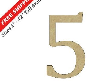 "Unfinished Wooden Number ""5"" in the CAMBRIA Font Style"
