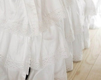 White Tiered Ruffle Bed Skirt with Crochet Lace-split corners