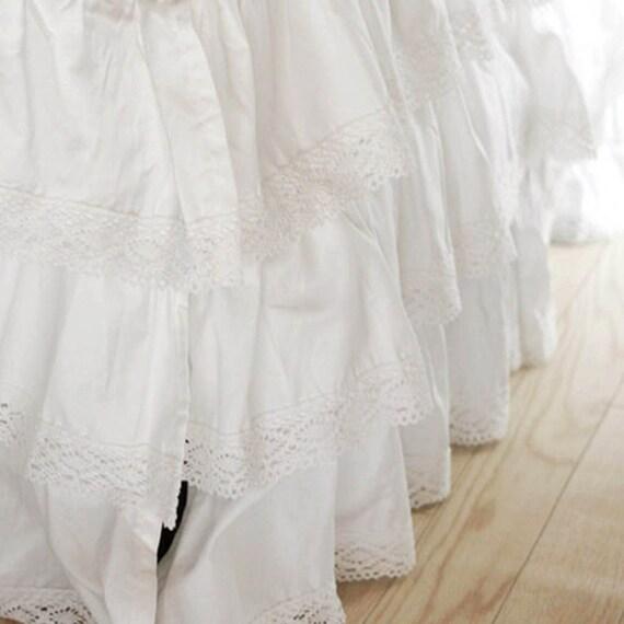 White Ruffle Crib Bed Skirt