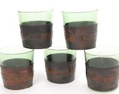 5 Leather Whiskey Tumblers Green Glassware with Thin Leather Holsters or Cozies Distressed Leather 60s Small Set