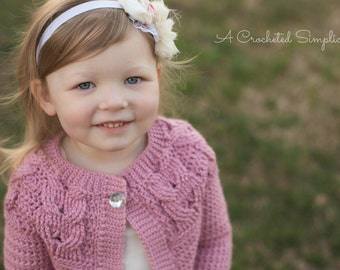 "Crochet Pattern: ""Southern Charm"" Girls Cabled Cardigan 