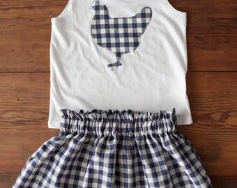 Gingham Chicken Outfit Skirt Shirt Hen Applique Farmer's Market Girl Organic Cotton