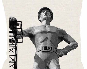Tulsa Golden Driller Pillow Cover