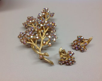 Vintage Tree Pin and Earrings Aurora Borealis