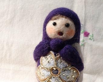 SOLD .... Russian doll: needle felted in beautiful wools OOAK