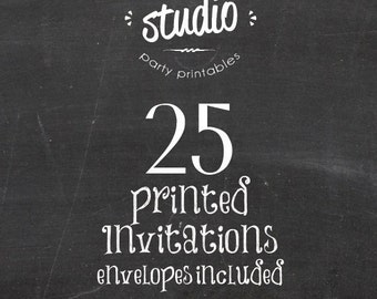 25 Cardstock Invitations Printed with Envelopes