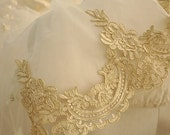 Luxury gold alencon lace trim for bridal veil