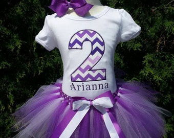 GIRL Personalized number 2 second 2nd birthday tutu OUTFIT/ shirt customize birthday outfit personalized embroidered monogram purplechevron