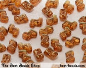 30pcs Lustered Topaz Double Hole Zorro Beads 6x5mm