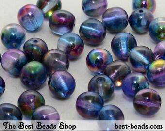 30pcs Magic Blue Round Pressed Beads 8mm