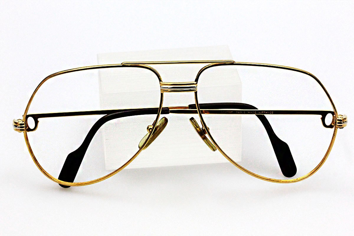original cartier vintage 1983 18k gold glasses authentic