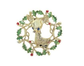 Vintage Christmas Reindeer Brooch, 1960's Gerry's Reindeer in Wreath Brooch, Christmas Pin, Holiday, Christmas Jewelry, 1960's Christmas