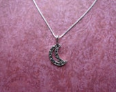 Moon crescent marcarsite sterling silver pendant