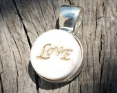 Sterling Silver Marble Necklace with the Word Love (Small Size), Unique one of a kind Gift. Brown or White. Pin it if you like it!