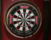 Budweiser Wine barrel head dart board kit with 2 chalkboard stave scorers