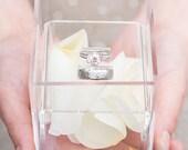 Unique Alternative Acrylic Wedding Ring Box - Ring Pillow - Ring Bearer - Wedding Decor