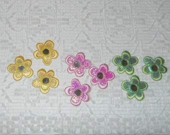 Vintage Boho Embroidered Pink Daisy Mirror Applique Lot 9pcs