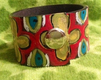 Hand painted leather cuff
