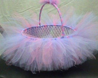 Pastel Pink and Purple TUTU GIFT Basket. Baby Shower or  use as a bow holder, catch all basket. Can be made in any color or pattern EASTER